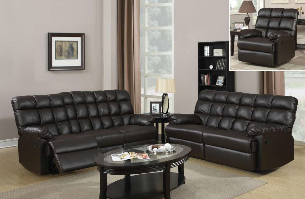 Traditional tufted dark brown bonded leather reclining for Dark brown living room set