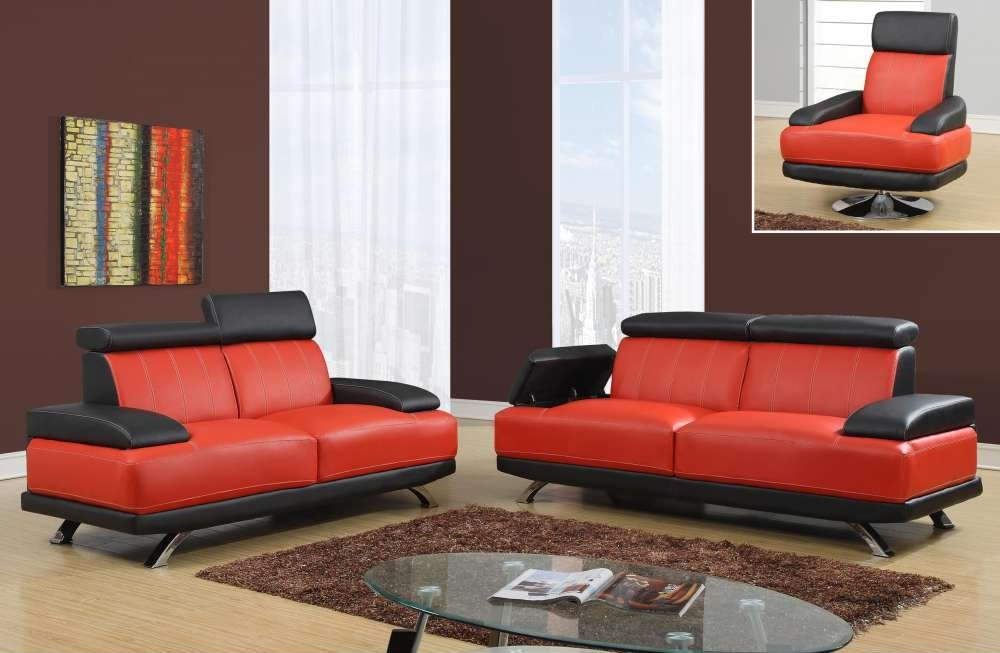 Black And Red Unique Sofa Set With Chrome Legs And Storage Arms San