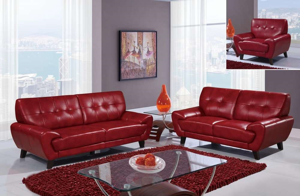 Red Contemporary Sofa Set With Wooden Legs Dallas Texas Gf7400