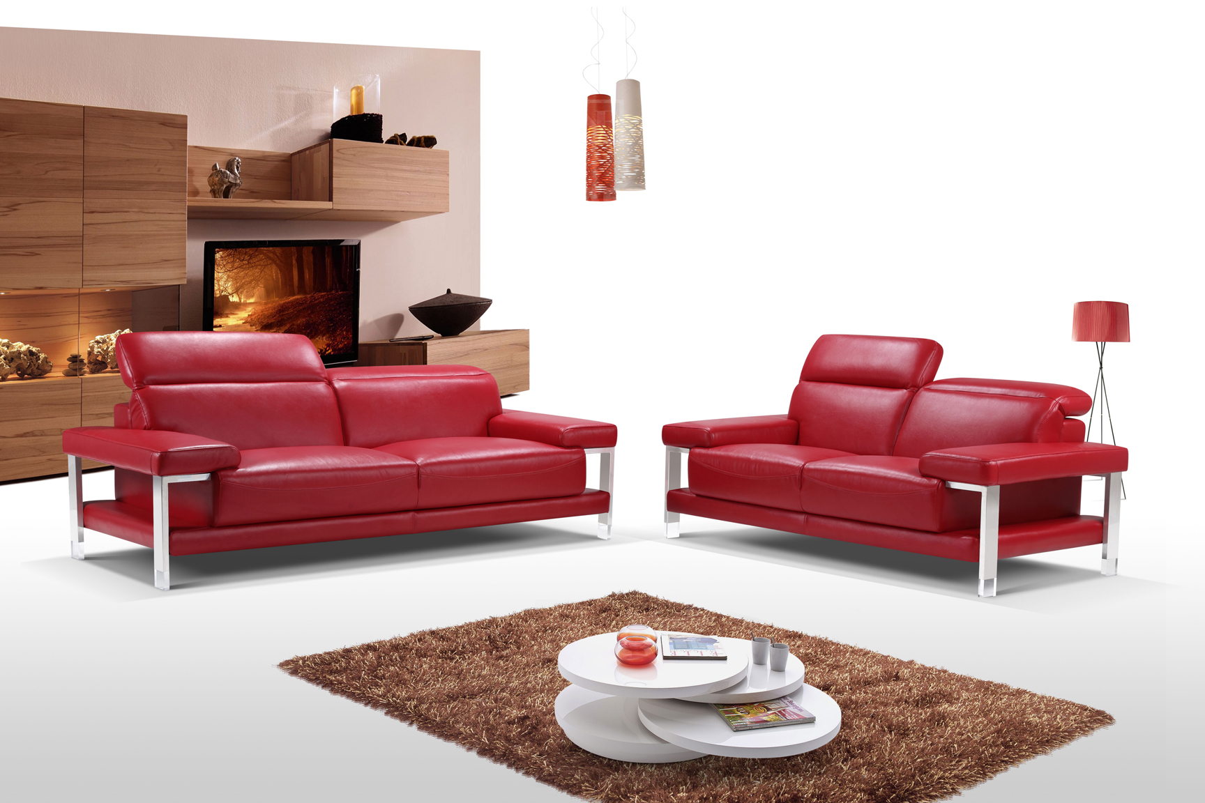 Chic fiery red two piece top grain leather living room set for Red living room furniture