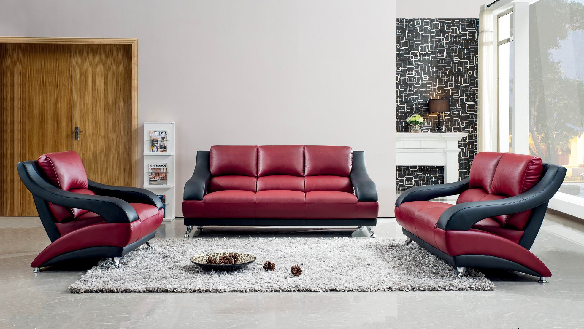 Contemporary Attractive Leather Living Room Set Chicago Illinois Esf 1368