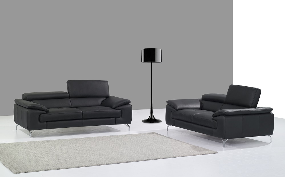 Unique Black Leather Sofa Set with Chrome Accents