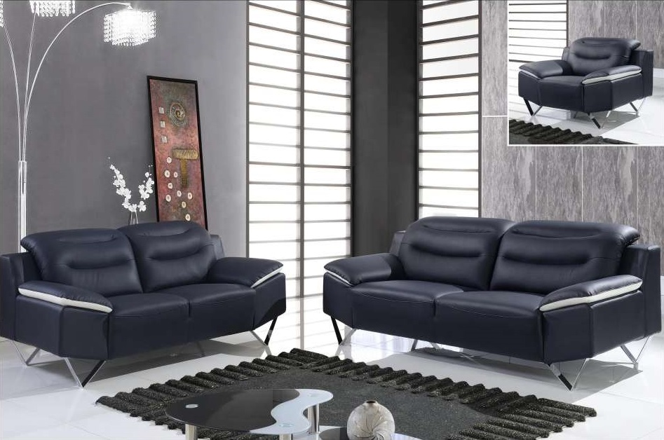 Black and white full leather 3 piece sofa set with chrome legs houston texas gf7181 for Modern living room furniture houston tx
