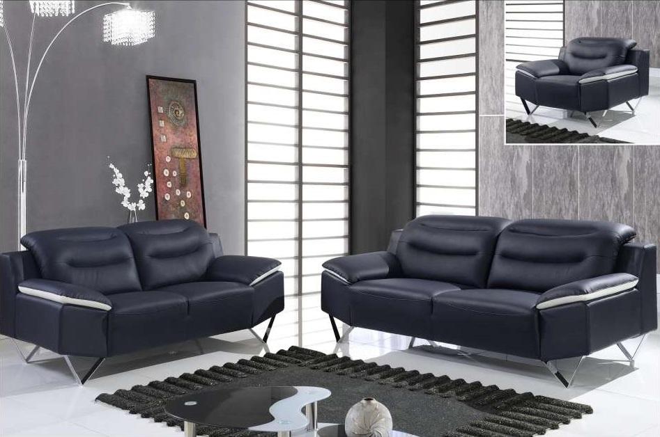 Black And White Full Leather 3 Piece Sofa Set With Chrome Legs Houston Texas Gf7181