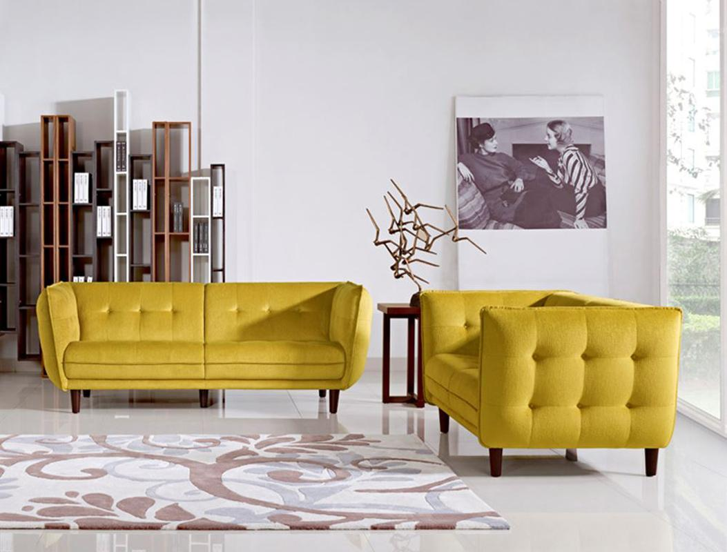 Contemporary yellow fabric tufted sofa set with wooden for Leather and fabric living room sets