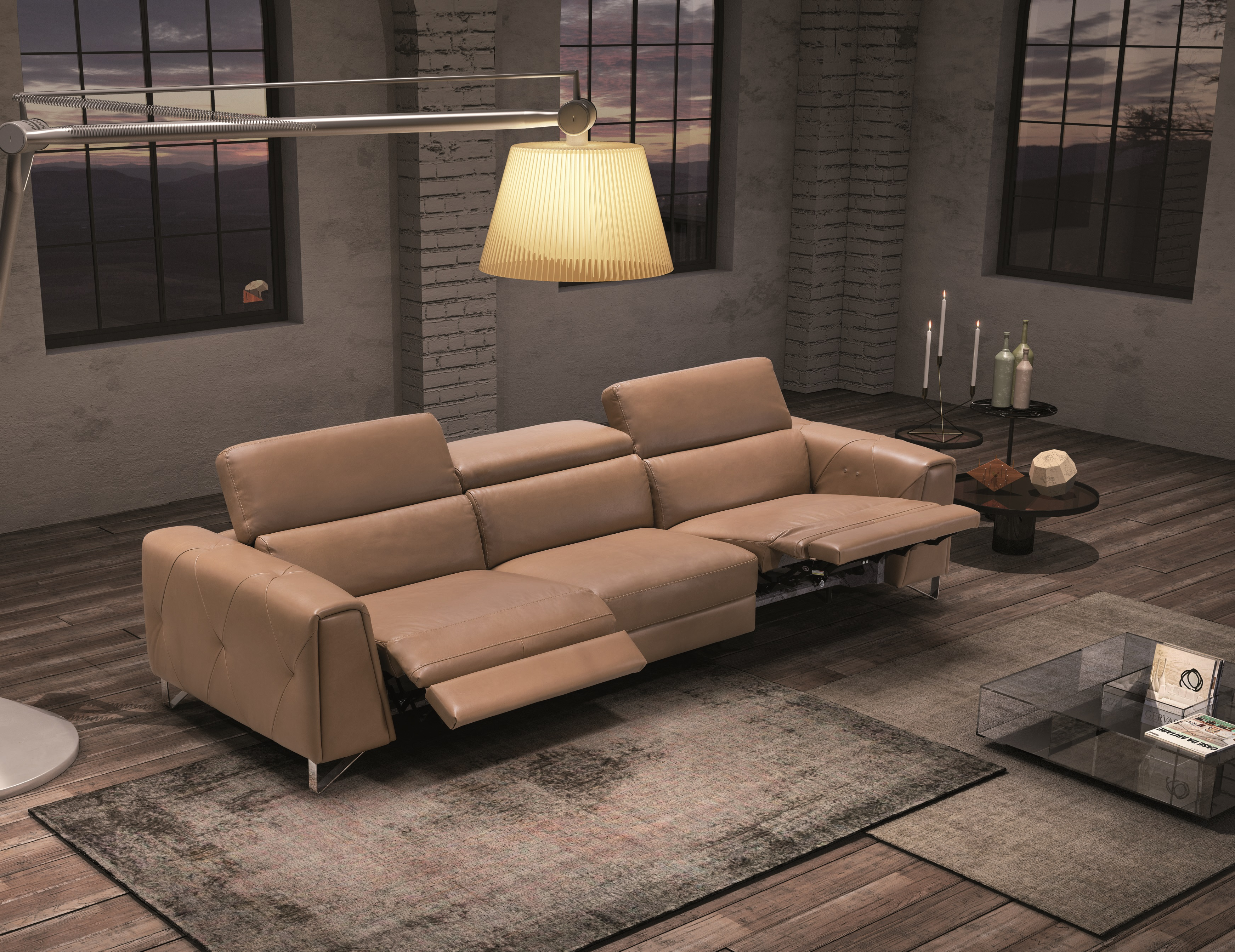 Dark Color Living Room Set with Reclining System