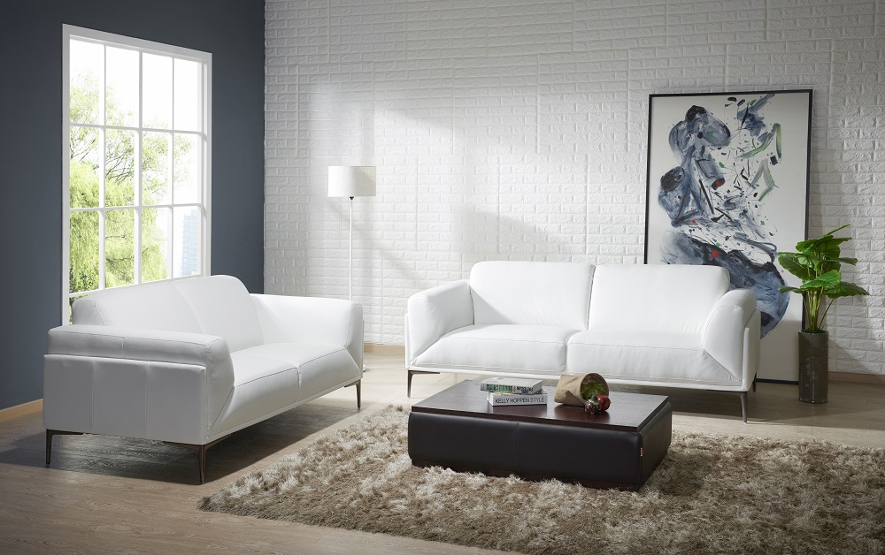 Manhattan contemporary white leather sofa set sacramento for White leather living room furniture