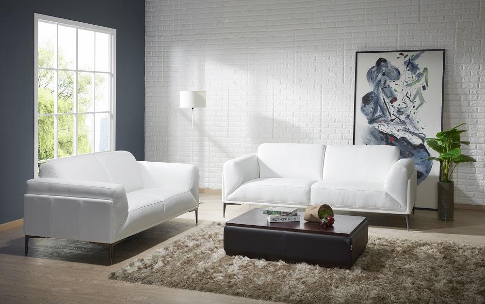 Manhattan Contemporary White Leather Sofa Set Sacramento California J M Davos