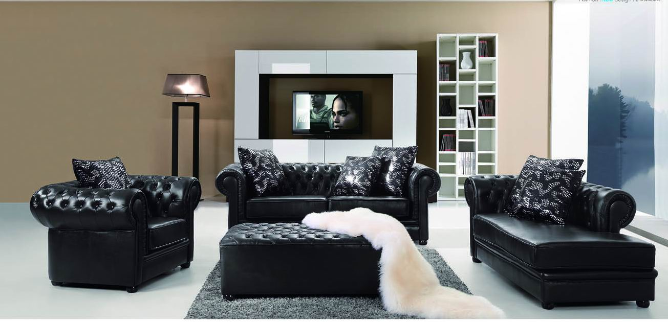Classic Tufted Black Top Grain Leather Three Piece Living