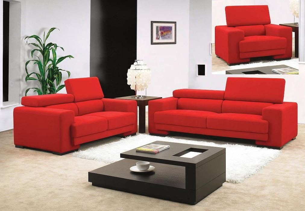 red fabric sofa set with adjustable headrests seattle