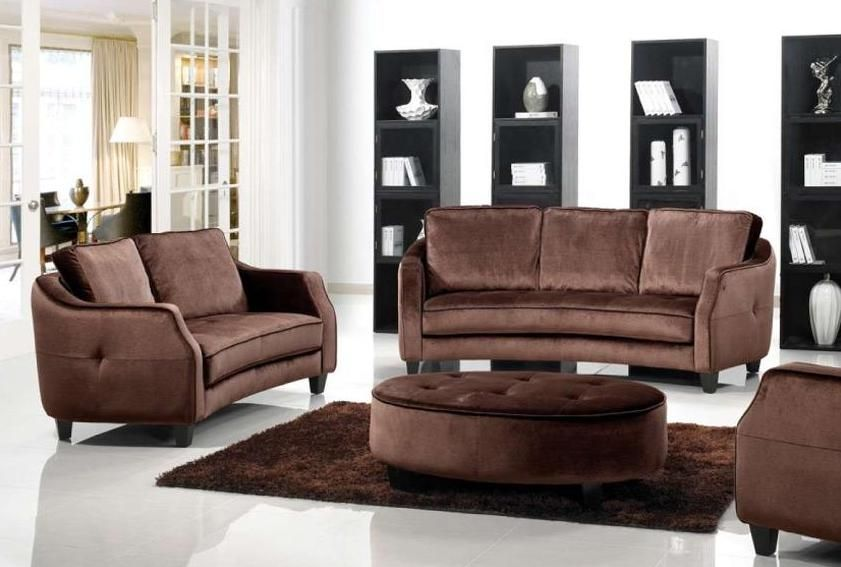 Brown fabric sofa set with ottoman 1079 albuquerque new for Leather and fabric living room sets