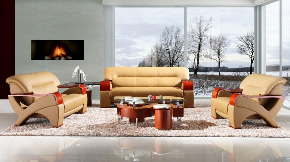 Bonded leather sofa set with wooden armrests fresno for Living room set design
