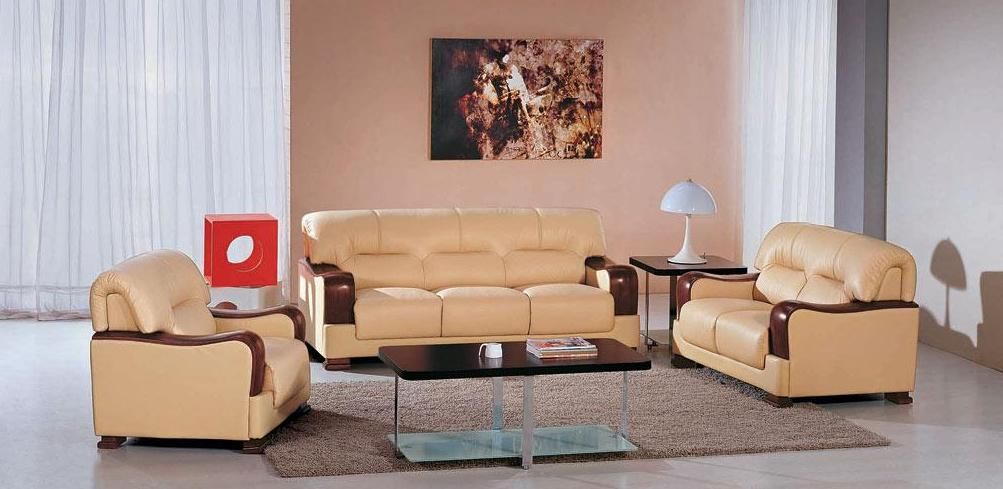 Beige Color Leather Sofa Set With Wooden Accents Riverside California V2109