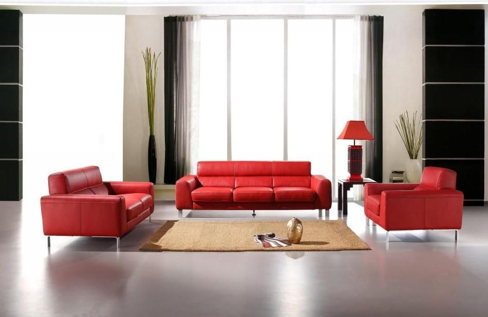 Sensational Italian Leather Sofa Set In Red Theyellowbook Wood Chair Design Ideas Theyellowbookinfo