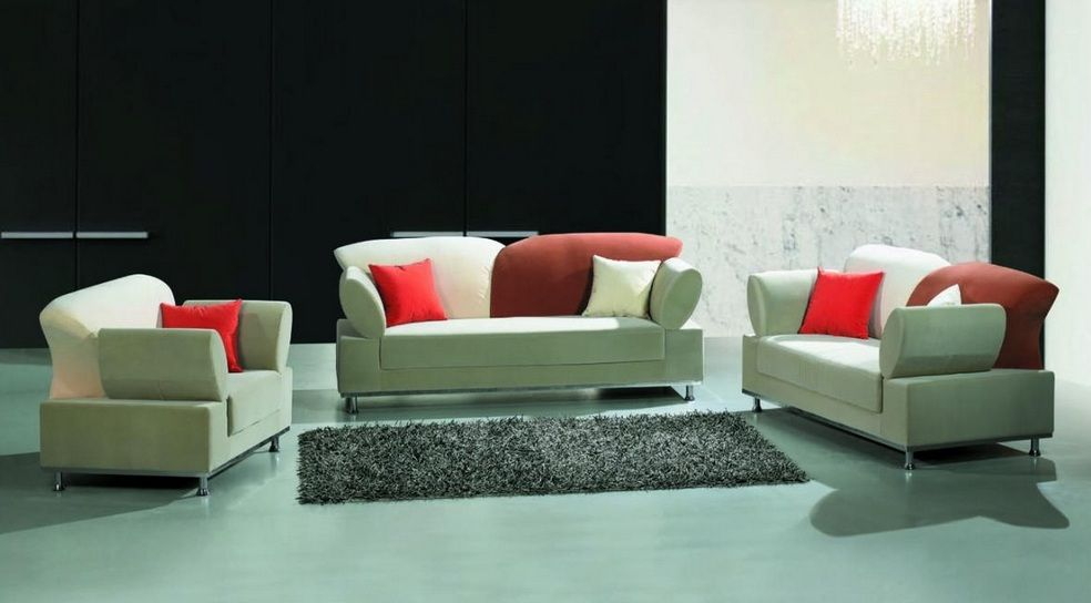 Multi colored contemporary fabric living room set for Leather and fabric living room sets