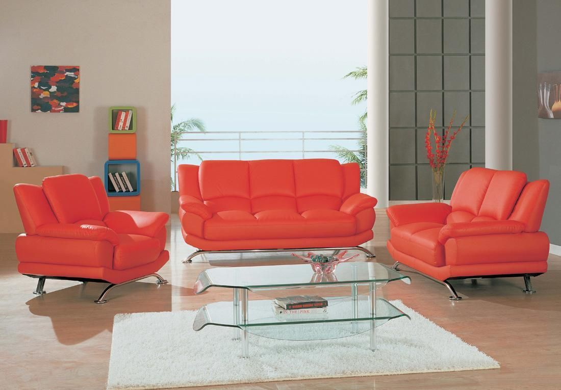 Contemporary Red Leather Sofa Set