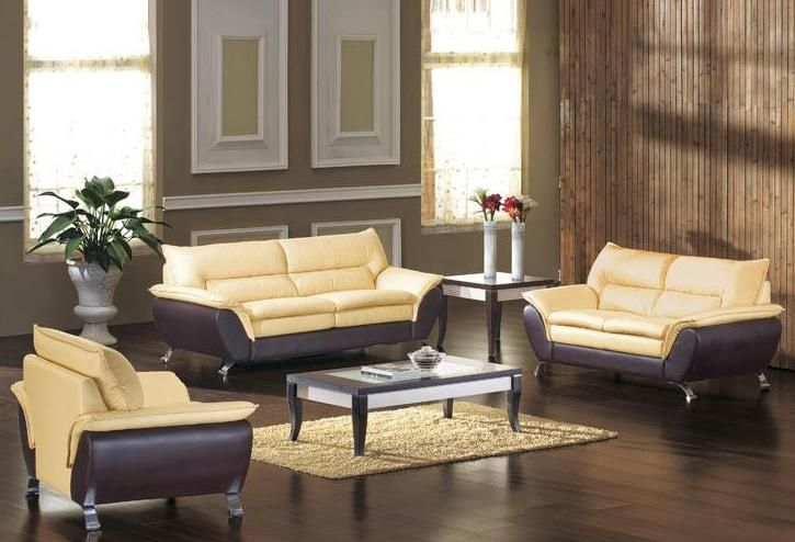 Two Tone Bonded Leather Sofa Set With Sofa Bed Colorado