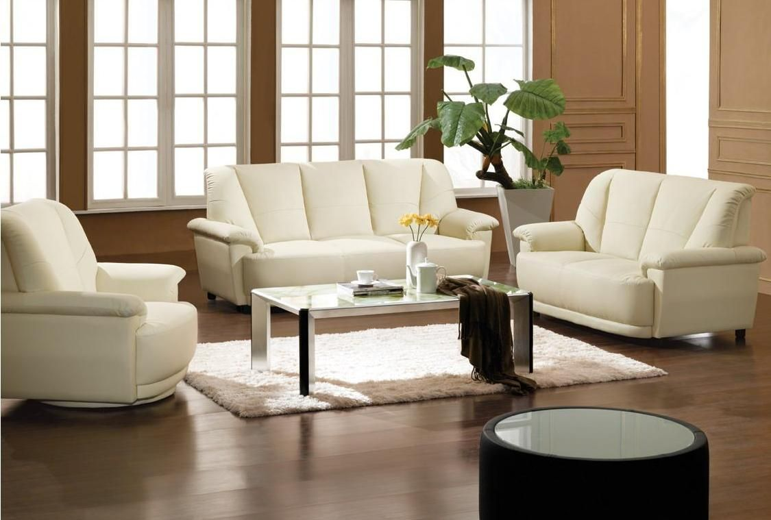 White Bonded Leather Sofa Set With Swivel Armchair Las Vegas Nevada V2828