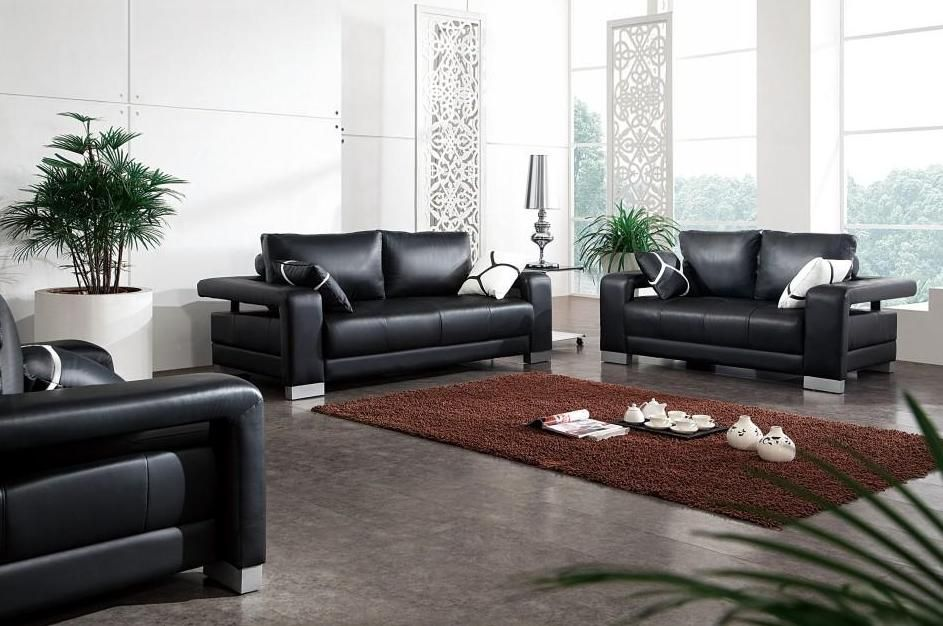 Black Leather Sofa Set With Matching Throw Pillows