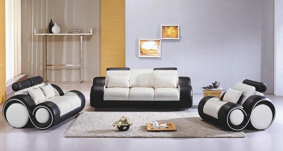 Contemporary black and white leather sofa set mesa arizona for Living room set design