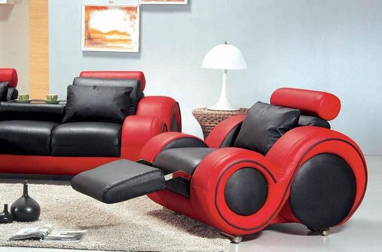 Contemporary Black And Red Leather Sofa Set Atlanta Georgia V4088