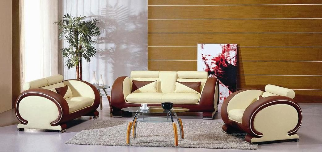 Two toned leather contemporary sofa living room set tulsa for Living room decor sets