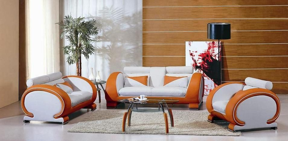 Two toned orange and white leather contemporary sofa for Designer living room sets