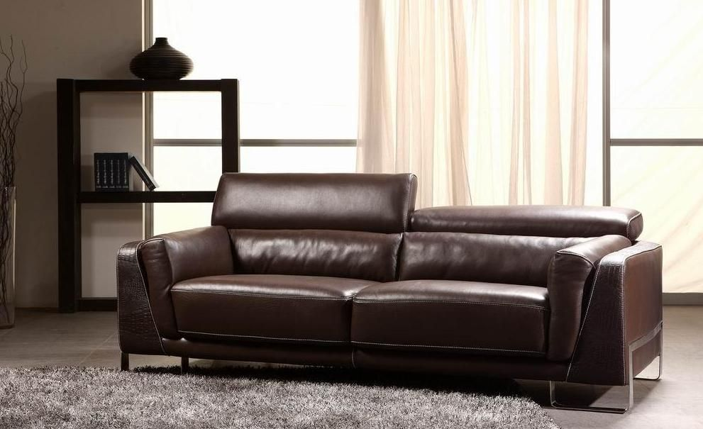 Espresso Crocodile Leather Sofa Set Houston Texas VIG-3946