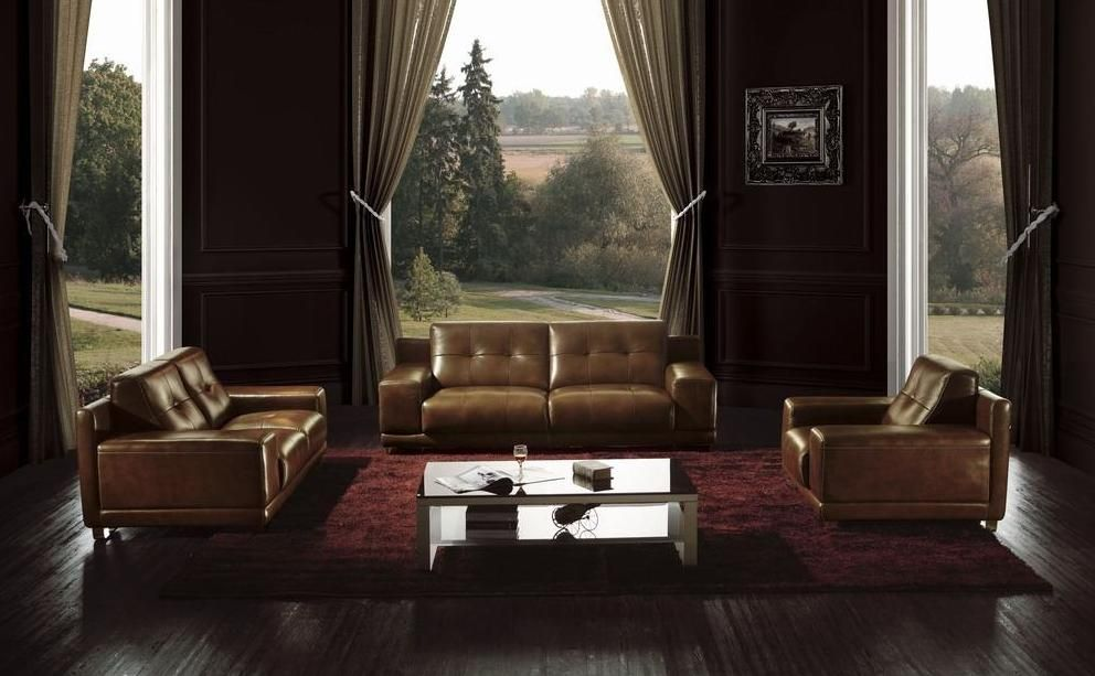 Brown Leather Contemporary Button Tufted Sofa Set St Paul