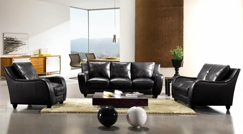 Full Leather Bremen Black Sofa Set St Louis Missouri Vbremen