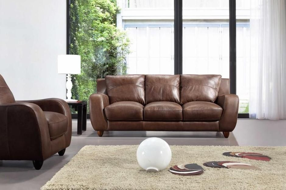 Full Leather Bremen Brown Sofa Set Pittsburgh Pennsylvania VBREMEN