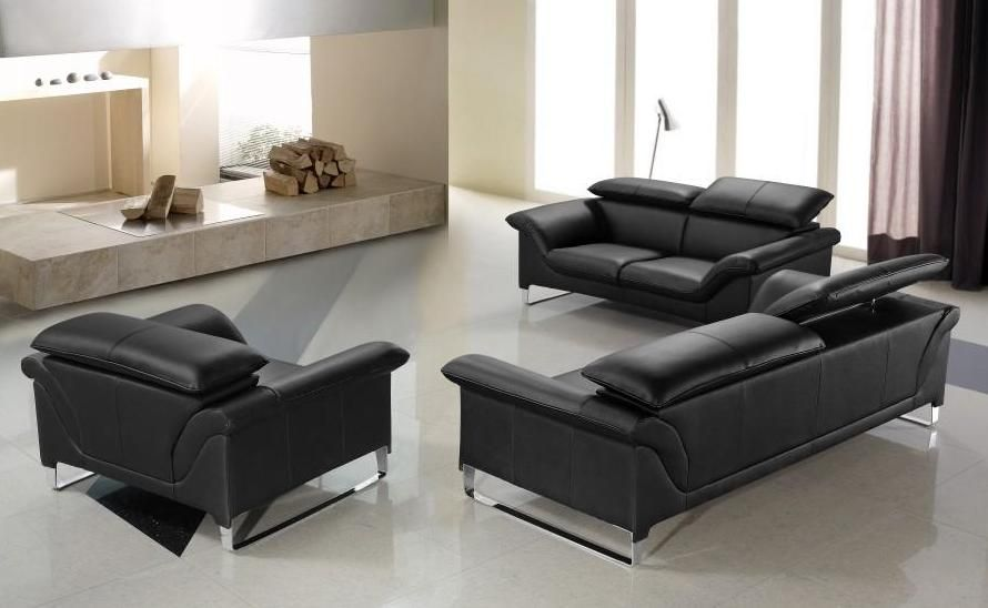 Elite Contemporary Black Leather Sofa Set