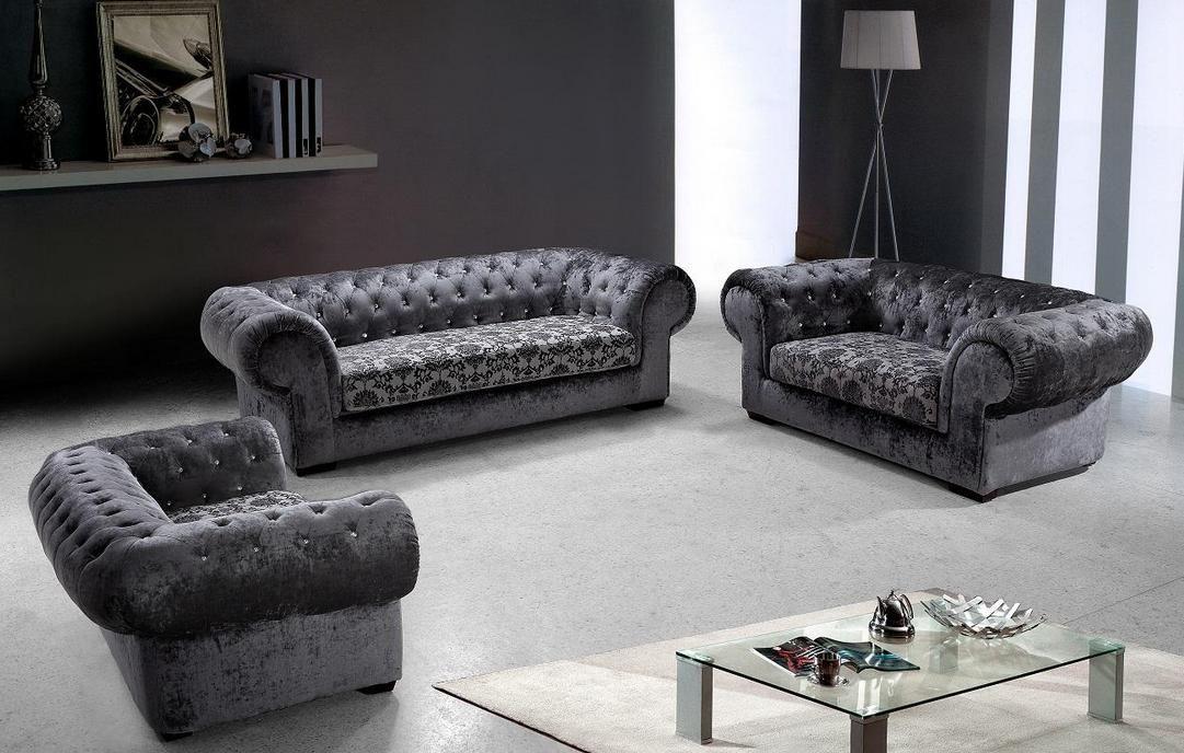 White Tufted Fabric Sofa Set 1081 x 688