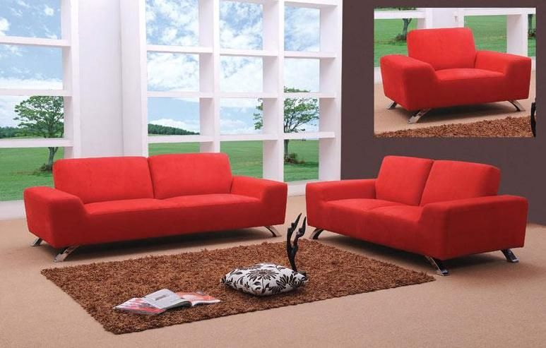 Sunset Contemporary Fabric Red Sofa Set