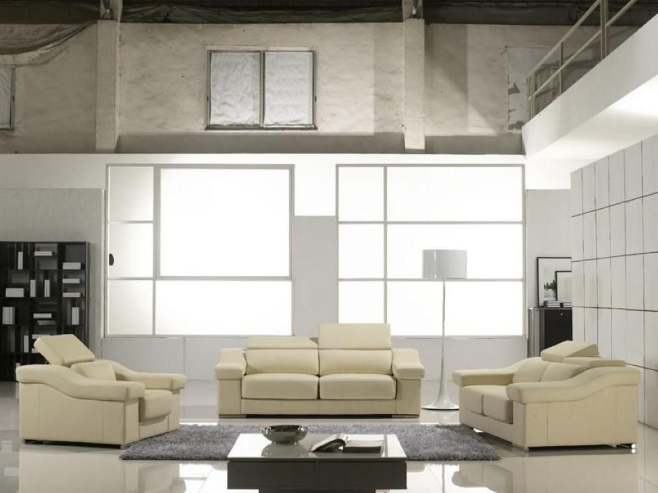 Contemporary sofa set in cream leather arlington texas vt136 Modern sofas to go with any type of decor