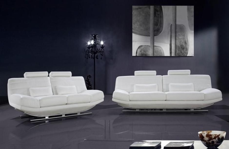 Viper White Leather Sofa Set with Adjustable Headrests Santa Ana ...