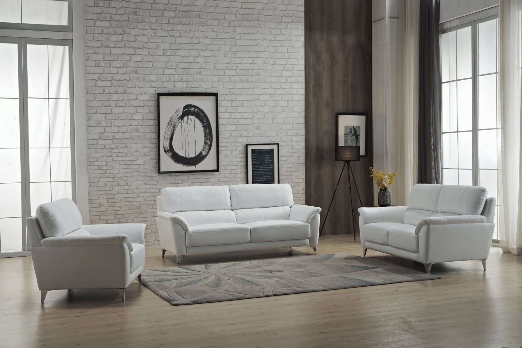 Unique Design White Leather Sofa Set
