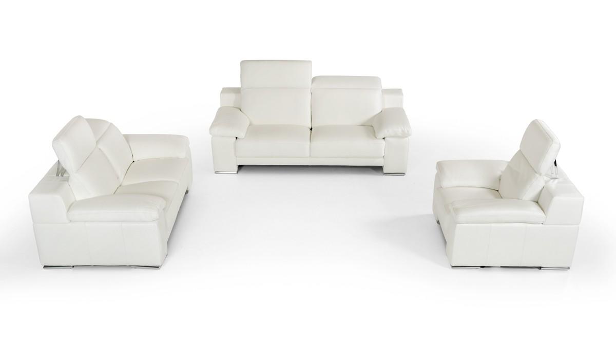 Italian Handmade Neat White Genuine Leather Sofa Set San Jose ...