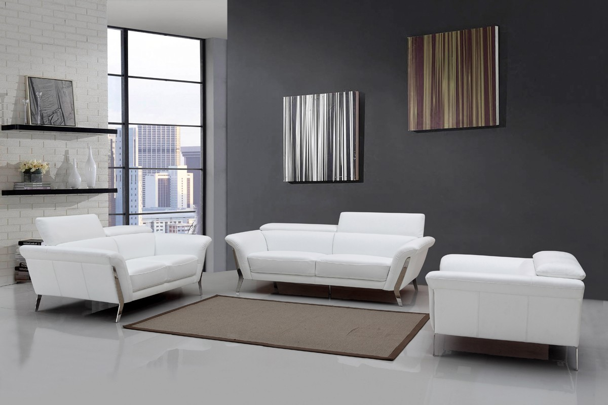 Modern White Upholstered In Italian Leather Sofa Set New