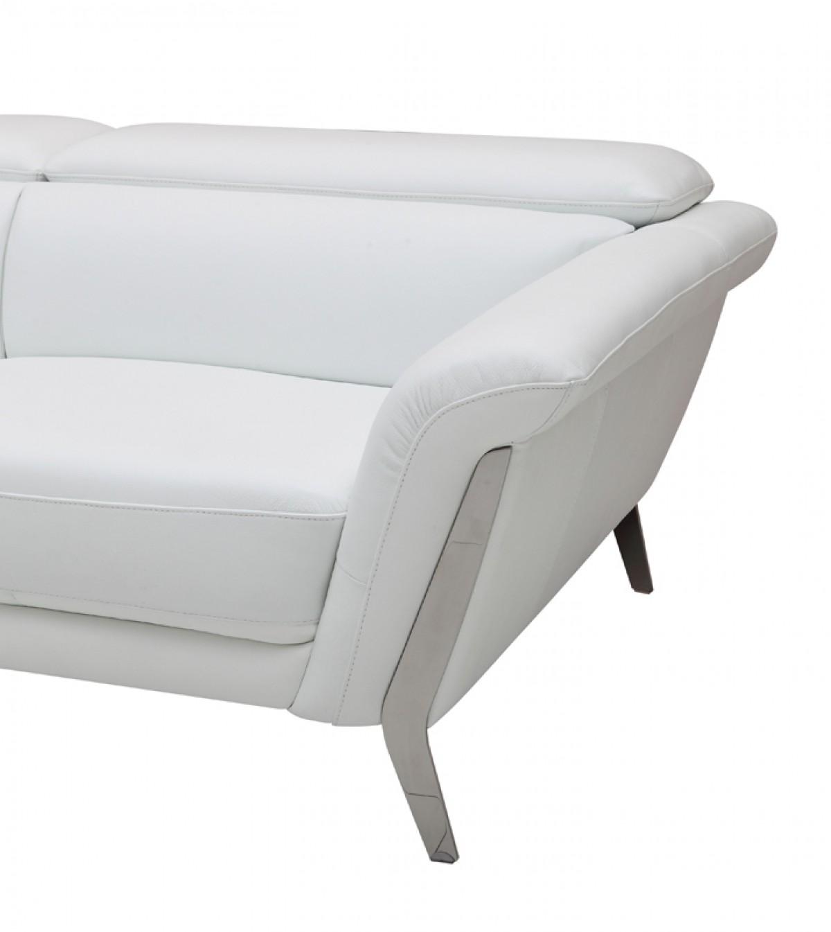 Italian Leather Sofa Set Modern: Modern White Upholstered In Italian Leather Sofa Set New York New York VIG-Ronen-1547
