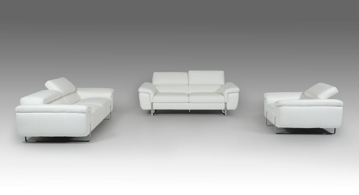 Italian Made White Leather Sofa Set with Adjustable Headrests San ...