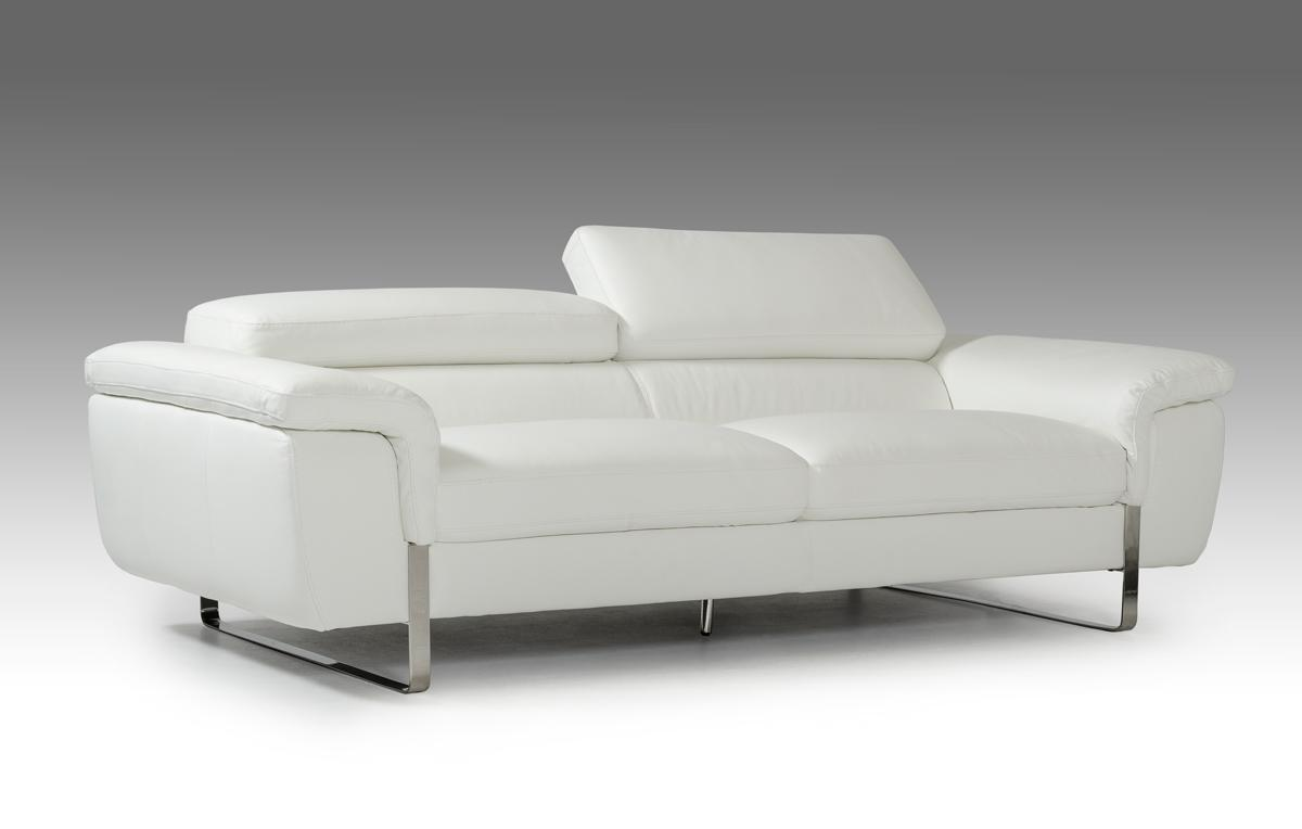 Italian Made White Leather Sofa Set With Adjustable