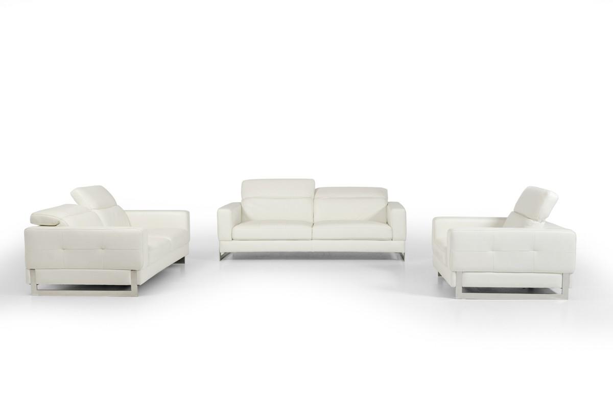 Genuine White Leather Three Piece Sofa Set Los Angeles