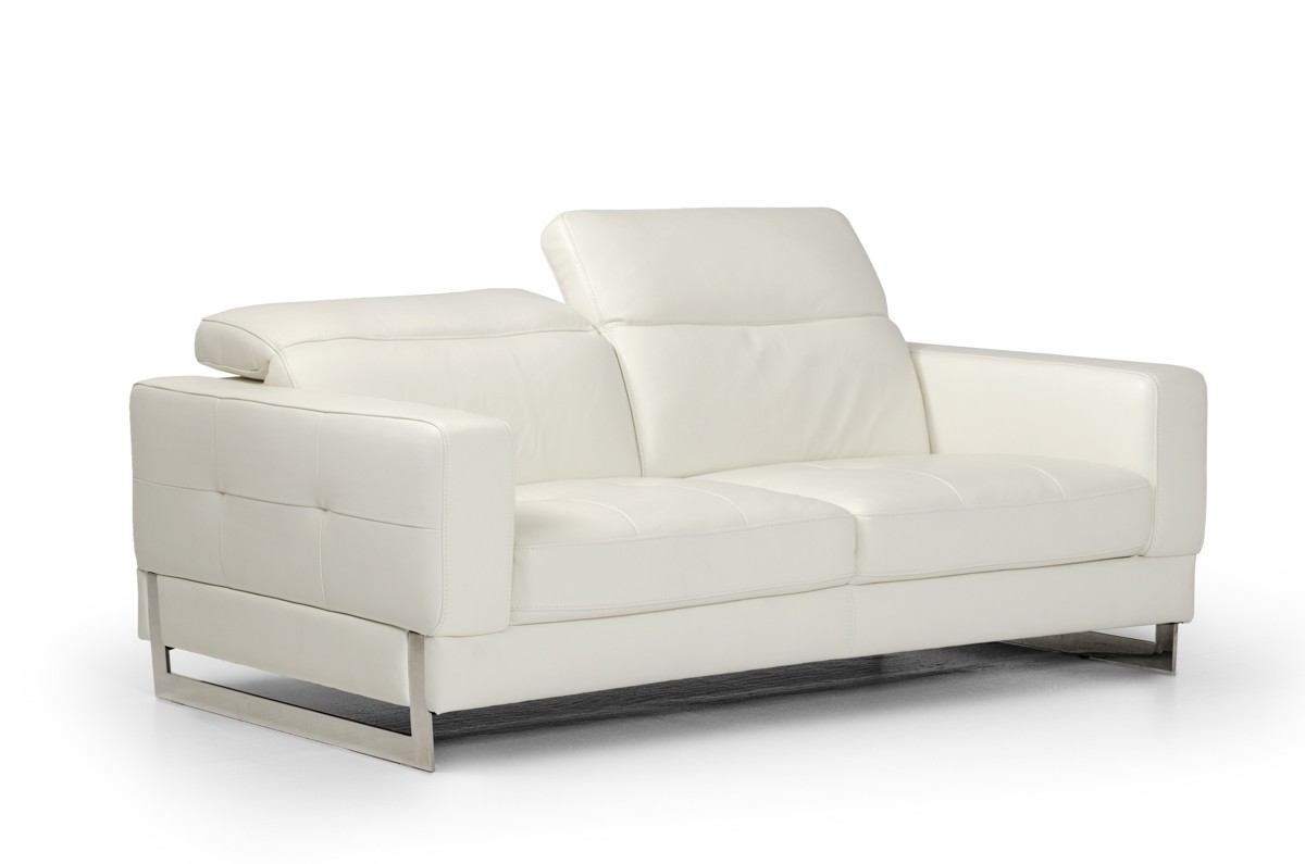 Genuine White Leather Three Piece Sofa Set Los Angeles - leather sofa traditional white