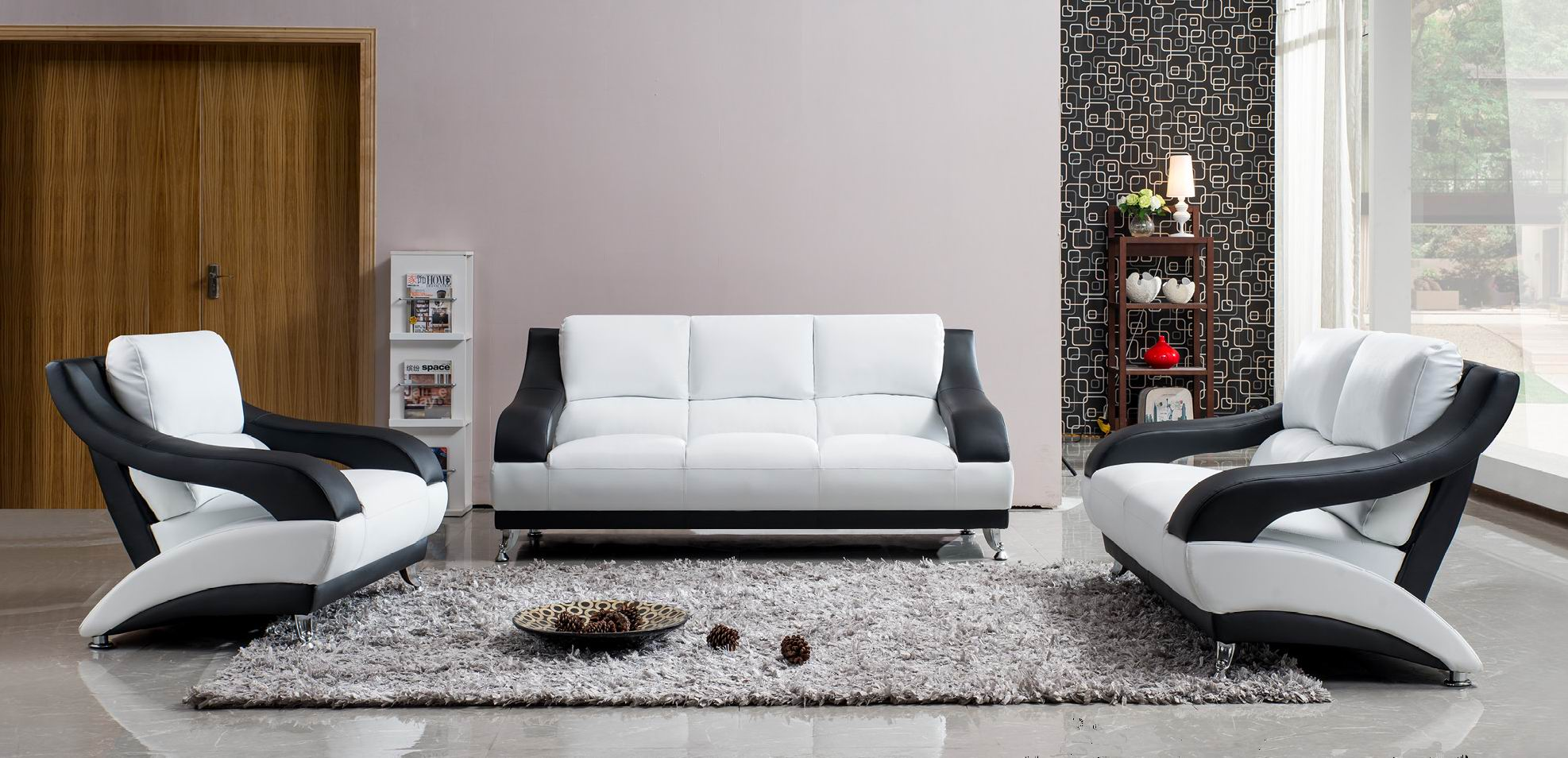 White Leather Sofa Set With Black Accents Miami Florida