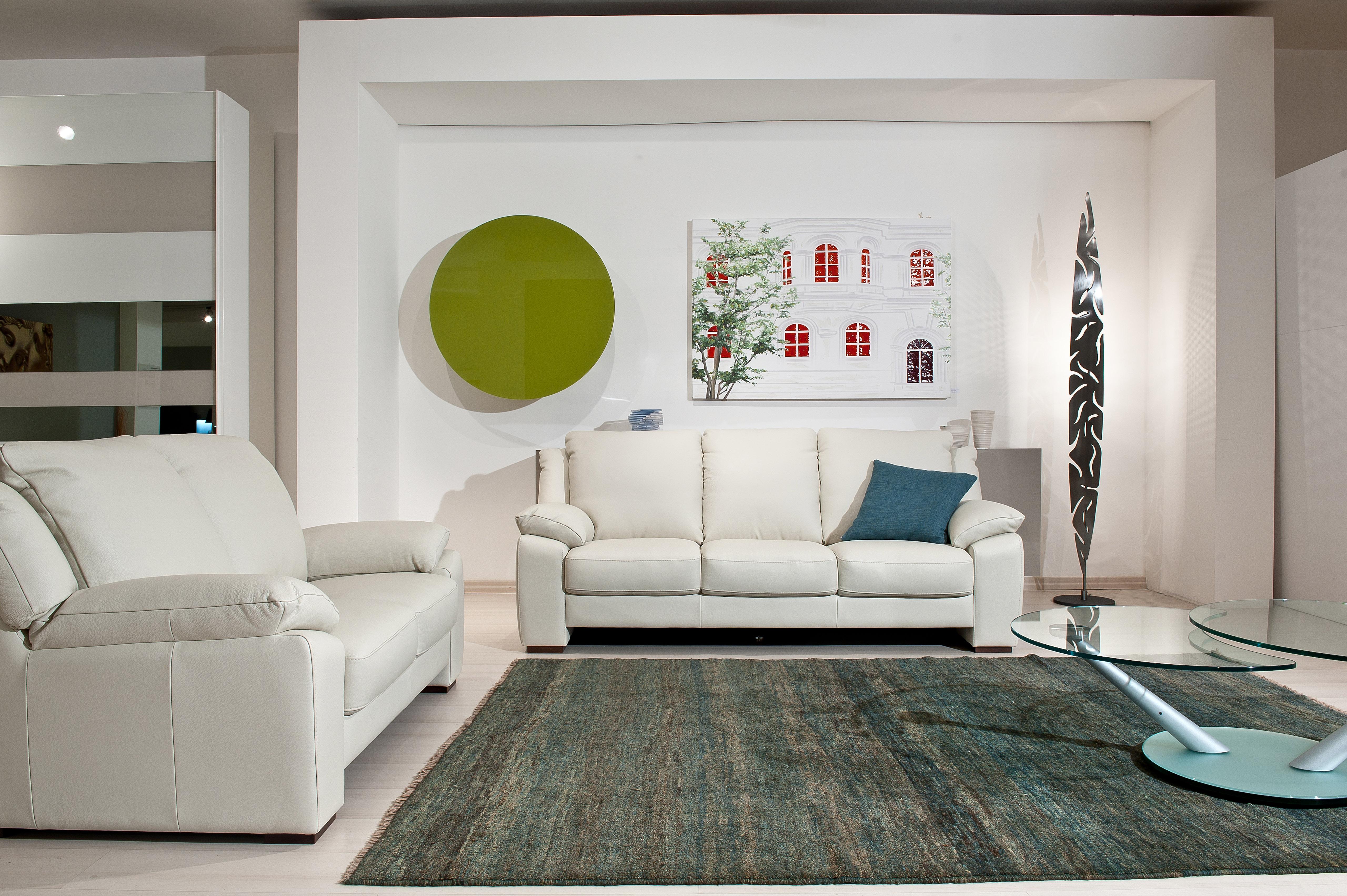 White Elegant Leather Sofa Set with Throw Pillows