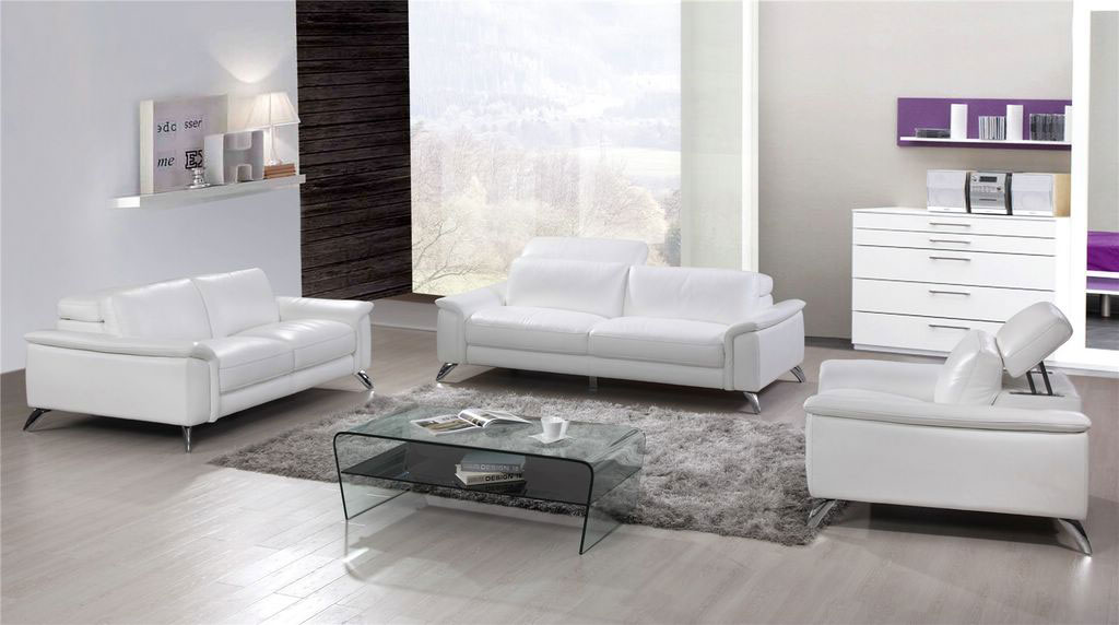 Gorgeous White Top Grain Leather Three Piece Living Room