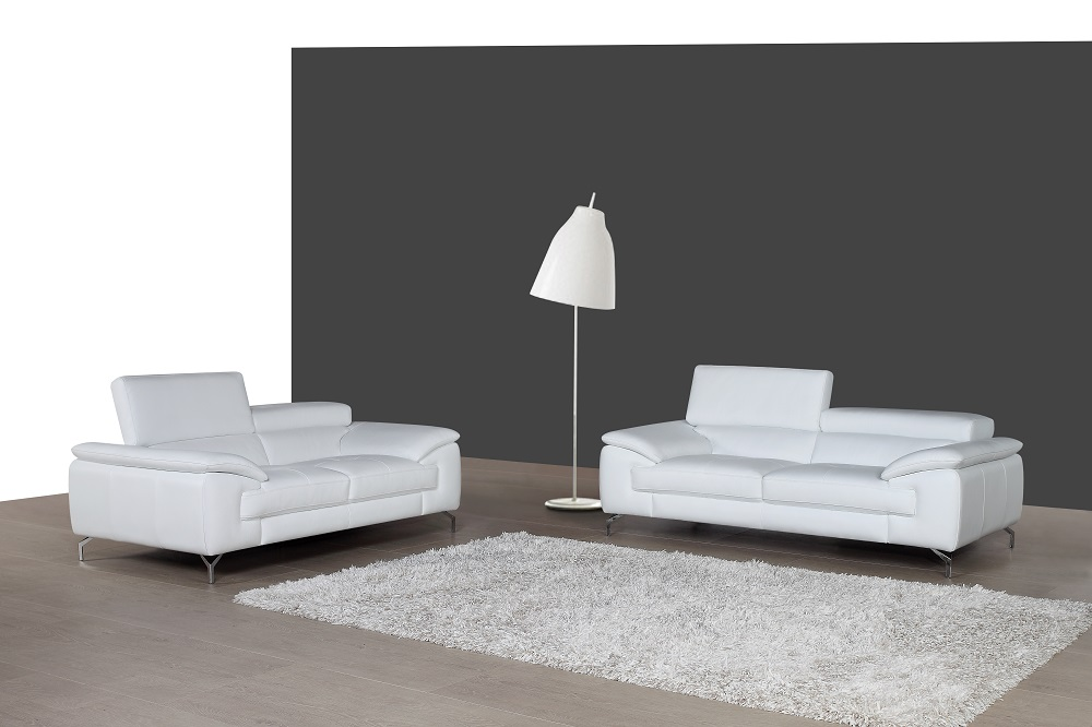 White Leather Sofa Set with Adjustable Headrests