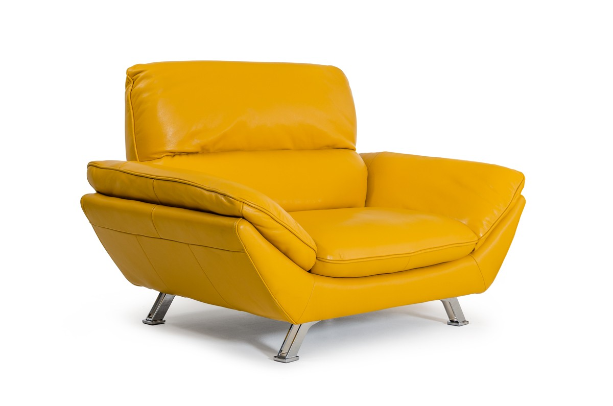 Bright yellow italian genuine leather sofa set detroit for Sofa chair