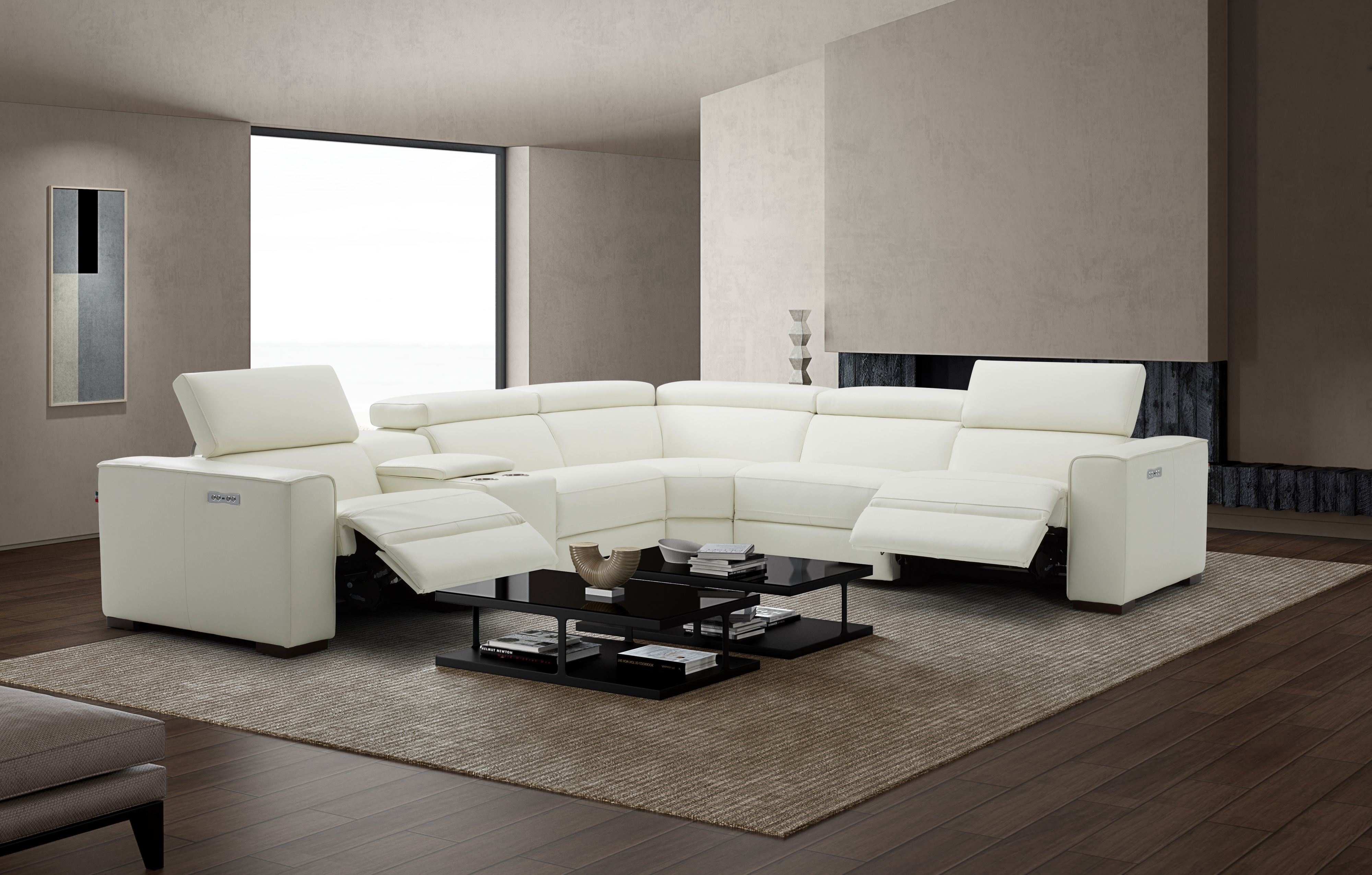 White Sectional With Italian Leather